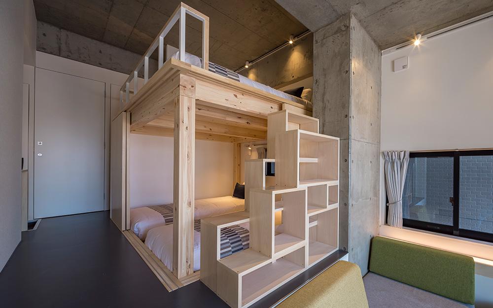 dots. tokyoのファミリースイートルームのベッドスペース